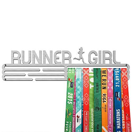 United Medals Runner Girl Medaille Kleiderbügel | Edelstahl Medaillenhalter | 43cm / 48 Medaillen