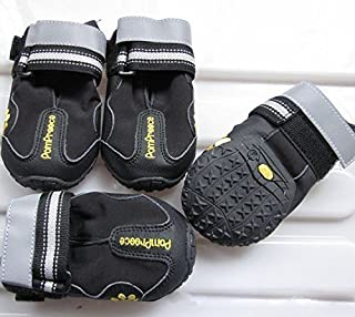 Colorfulhouse Waterproof Pet Boots for Medium to Large Dogs Labrador Husky Shoes 4 Pcs (Black, 6 (2.9