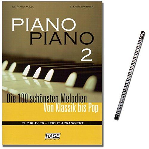 Piano Piano 2 - Spielbuch für Klavier - 100 tolle Melodien : Lieder aus aller Welt, Evergreens, Pop Hits, Barmusik, Filmmusik und Musical - mit Musik-Bleistift