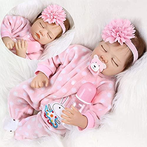 HRYEOY 22 Pulgadas 55cm Muñecas Reborn Niña Vinilo Silicona Suave Realista Hecho a Mano Recién Nacido Bebé Reborn Niña Juguetes