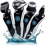 Afeitadora Eléctrica para Hombres, Ecomono Afeitadora Rotativa Recargable USB Inalámbrica Recortadora de Barba, Pelo de Nariz, Impermeable, Húmeda y Seca 4 en 1 Afeitadora Eléctrica para Hombres