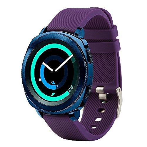 Bracelet de rechange Fit-power pour montre connectée - 20 mm Pour montres Samsung Gear Sport / Samsung Gear S2 Classic / Huawei Watch 2 / Garmin Vivoactive 3 / Garmin Vivomove HR, violet