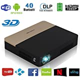Mini videoproiettore 2000 lumens Portable 3D DLP Pico Home Theater Proiettori cinematografici WiFi Bluetooth, supporto Full HD 1080P con built-in batteria 14400mAh Android OS HDMI USB AV