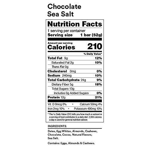 RXBAR, Chocolate Sea Salt, Protein Bar, 1.83 Ou   nce (Pack of 12), High Protein Snack, Gluten Free