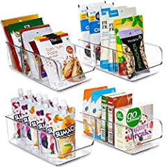 Functional Organizer Bins — 4 same size storage bins measure 11x 5.5 x 3.5 inches; They fit nicely in your cabinets or pantry so that you can store all your package goods in one area; Ideal for separating and storing spice packets, seasoning pouches,...