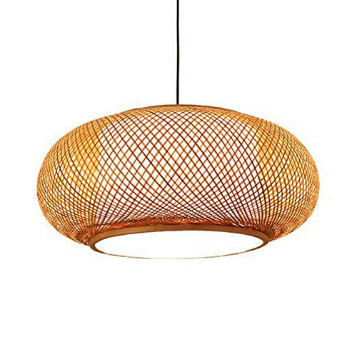 LITFAD Antique Lantern Pendant Lighting Rattan Single Light Weaving Natural Wooden Ceiling Hanging Light Beige Ceiling Fixture with Adjustable Cord for Dining Room Living Room Restaurant - 16