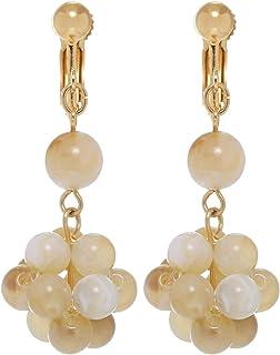 GrandUAE Women's Alloy Earring - Grapes, Beige