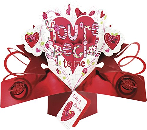 Second Nature - Tarjeta tridimensional de San Valentín, diseño de flores y corazones y texto en inglés