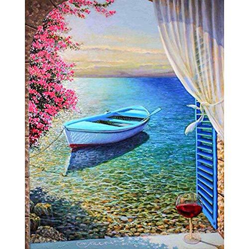 Pintura diamante bricolaje 5D diamante completo redondo diamante ventana barco 30x35cm adulto y niño relajación perfecta artista decoración de la pared