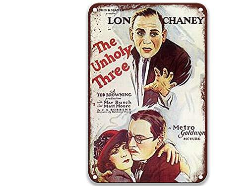 NNHG Letrero de lata con diseño de The Unholy Three (1930), diseño vintage con películas divertidas para sala de estar, cocina, jardín, hogar, 20 x 30 cm