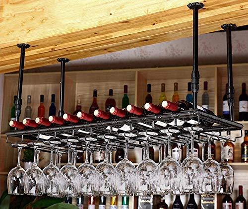 FCXBQ Estante de Metal para Vino, Soporte para Vidrio, Copas Colgantes, Barra para el hogar, Pub, exhibición, Estante de Almacenamiento, Estante para Colgar, Utensilios para Bar, decoración de Tec