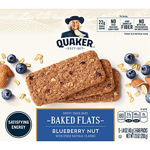 Quaker Breakfast Flats, Blueberry, Breakfast Bars, 5 Packets Per Box (Pack of 8)