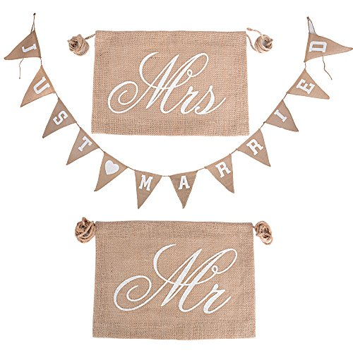 2pcs Banderas Boda Silla Mr Mrs + Guirnalda Boda Just Married Bandera Arpillera Banderines Vintage p