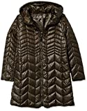 Kenneth Cole New York Women's Hooded Chevron Quilted Lightweight Puffer with Chunky Zipper, Green, Medium