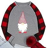 Santa Claus Shirt Women Casual Long Sleeve T-Shirt Christmas Holiday Celebration Tops Loose Fit Pullover (B-Gray, S)