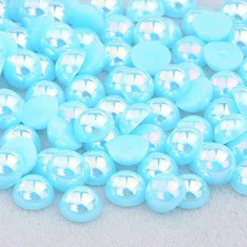 2 4 6 8 10 12 14mm Demi-Ronde Imitation Perle Noir AB Strass Perle Colle Sur Nail Art Décoration Dos Plat Perle Autocollant, Aquamarine AB, 12mm 50 Pcs