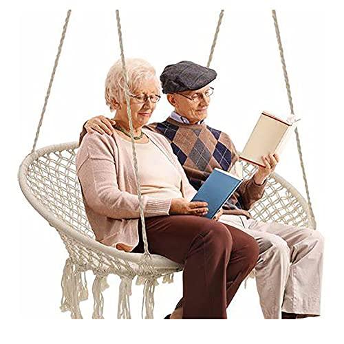 AAGYJ Hamaca Doble, sillas Columpios, Silla Hamaca con Kit de herrajes para Colgar duraderos, Silla Columpio de Cuerda de Malla Tejida a Mano (máx.450 Libras)
