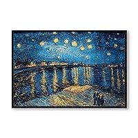 キャンバスの絵画のポスターとプリントゴッホの星空の夜有名なアーティストアートプリントポスター壁の写真60x80cmフレームなし