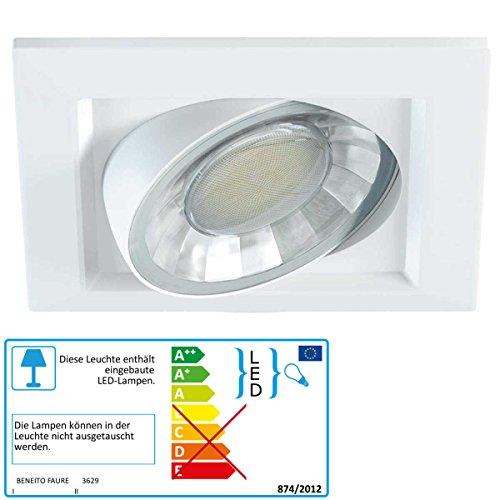 Beneito–Downlight empotrable LED 8W blanco 830Blanco Cálido Cuadrado rectangular orientable