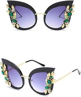 Chezi Green Crystal Gold Leaf Cateye Sunglasses, Black Frame Purple Lens, Medium