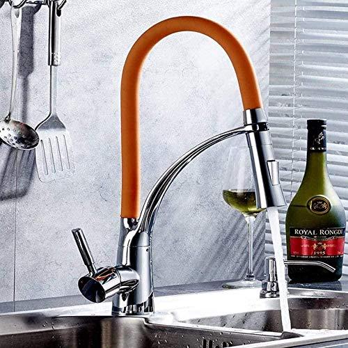 Küchenarmaturen Einziehbarer Wasserhahn Modern Drehhahn Bronze [Stretch] Drehbarer Heiß- und Kaltwasserhahn -CC-B