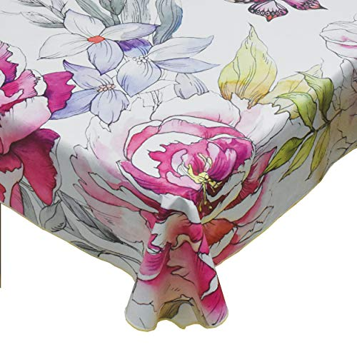 Selima Heavy Duty Vinyl Tablecloth with Flannel Backed Indoor/Outdoor Durable & Wipeable Tablecloth for Party/Picnic/Dining (Dancing Butterfly, 54