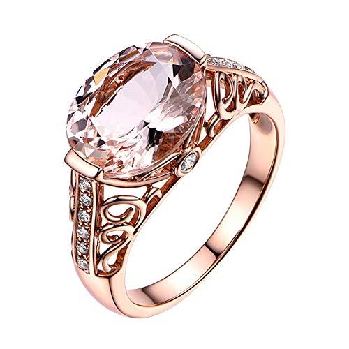 Profusion Circle - Anillo de Compromiso para Mujer con Incrustaciones de Diamantes de imitación, Color Naranja y Rosa