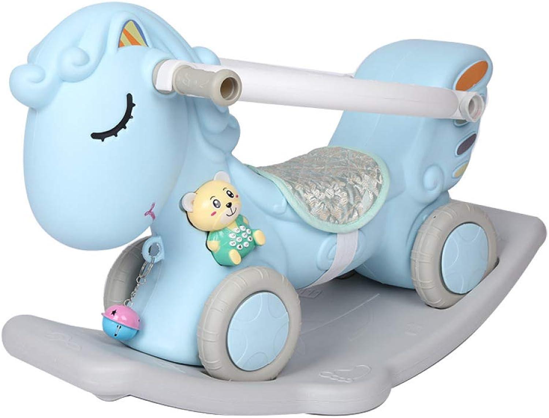 BO LU Kinderspielzeug Schaukelpferd Schaukeltier Sound Und Licht Geburtstagsgeschenke,blueee
