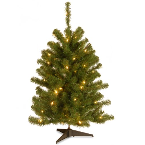 National Tree Company lit Artificial Mini Christmas Tree Includes Pre-strung White Lights and Stand Eastern Spruce - 3 ft, 27X27X36