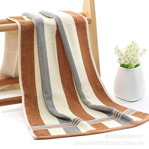 Xiaobing Par de algodón a Rayas, Viajes de Larga Distancia, paño de Lavado portátil, Toalla de baño para gimnasio-marrón-40x92cm