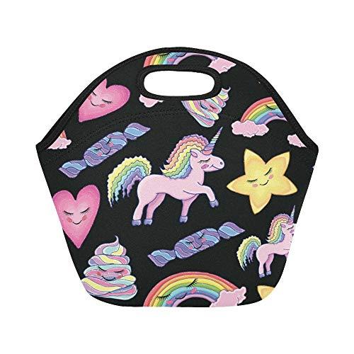 Magic Uni-Corn Rainbow Stars Neopreno Aislado Reutilizable, Caca De Corazón De Caballo Almuerzo Bolsa De Portátil,Bolsa Térmica,Lunch Bag,Organizador Del Almuerzo Para Playa Adulto