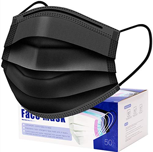 50 Pcs Black Mask Disposable Face Masks Breathable Dust Filter Mouth Cover Masks with Elastic Ear Loop for Men & Women