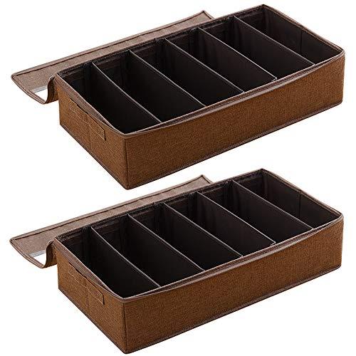 Organizador de almacenamiento debajo de la cama con 5 divisores ajustables de 59,9 x 33 x 14 cm, contenedores de tela tejida, bolsas para ropa, mantas, zapatos, 2 unidades de café