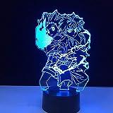 Lampe de table Dessin animé japonais Anime HUNTER x HUNTER Gon et Killua Zoldyck Figure 3D LED Veilleuse Enfant Chambre décoration Fans Cadeau Enfants