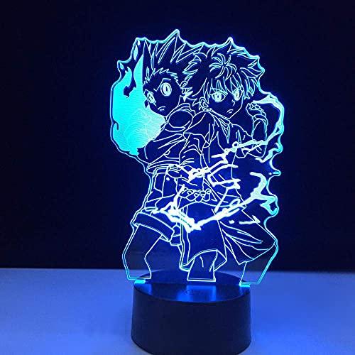 Lámpara de mesa 3D Anime HUNTER x HUNTER Gon and Killua Figura Luz nocturna Decoración del dormitorio infantil Ventiladores Regalo Niños Luz de luz nocturna