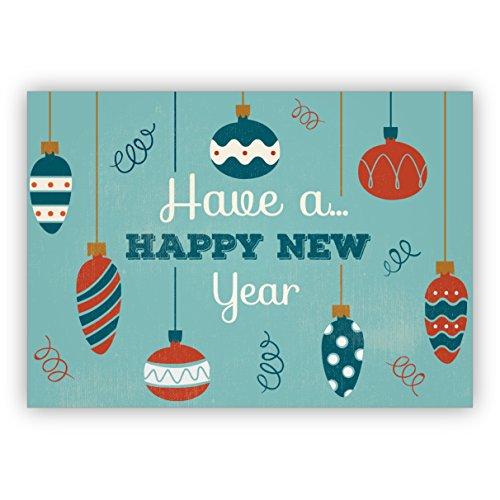 16 Stück: Retro Weihnachtskarte mit Vintage Weihnachtsschmuck: Have a happy new year • Weihnachts Glückwünsche im Set mit Umschlag zum Jahreswechsel für Familie, Freunde, Kollegen aus der Firma