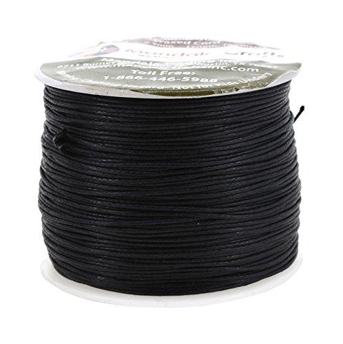 Mandala Crafts 0.5mm 109 Yards Jewelry Making Crafting Beading Macramé Waxed Cotton Cord Thread (Black)