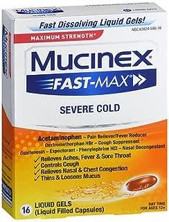 Mucinex Fast-Max Severe Cold Liquid Gels - 16 ct, Pack of 6
