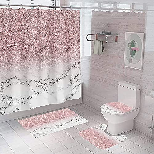 juwute 4PCS/Set Shower Curtain Marble Pink Shiny (No Glitter) Bathroom Decor Set with 12 Hooks,Toilet Lid Cover Sets with Non-Slip Rug Bath Mat for Bathroom, Polyester, Waterproof, 72x72 Inch