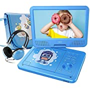 """FUNAVO 10.5"""" Portable DVD Player with Headphone, Carring Case, Swivel Screen, 5 Hours Rechargeable Battery, SD Card Slot and USB Port (Blue)"""