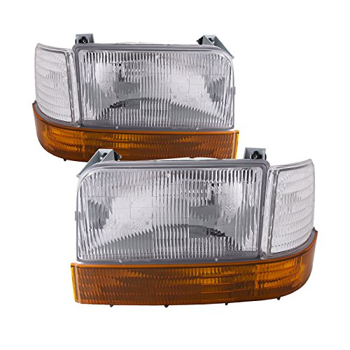 HEADLIGHTSDEPOT Chrome Housing Halogen Headlights Compatible with Ford Bronco F-150 F-250 F-350 Includes Left Driver and Right Passenger Side Headlamps 6-Piece Set With Corners and Signal Lights