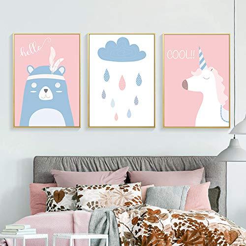 adgkitb canvas Cartoon Tiere Kunst Leinwand Malerei Poster Leinwand Kinderzimmer Wohnkultur Wandbilder Für Babyzimmer