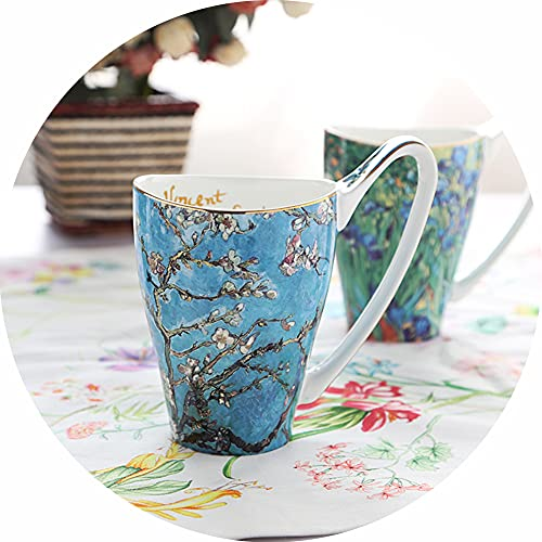 LAIDEPA Copa Porcelana Pareja Literaria Y Creativa Pintura Abstracta Trazo Dorado Cerámica Taza Té Niños Niñas Mujeres Hombres Taza Café,D