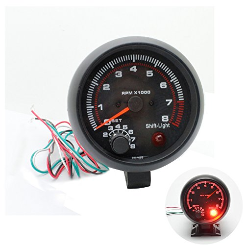 discoGoods 12V 3.75'' Universal Car Gauge Tacho Tachometer Counter Gauge Tachometer Red LED RPM Shift Light 4/6/8 CYL