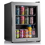 Subcold Super35 LED - Mini Fridge | 35L Beer, Wine & Drinks Fridge | LED Light + Lock and Key | Low Energy A++ (Silver)