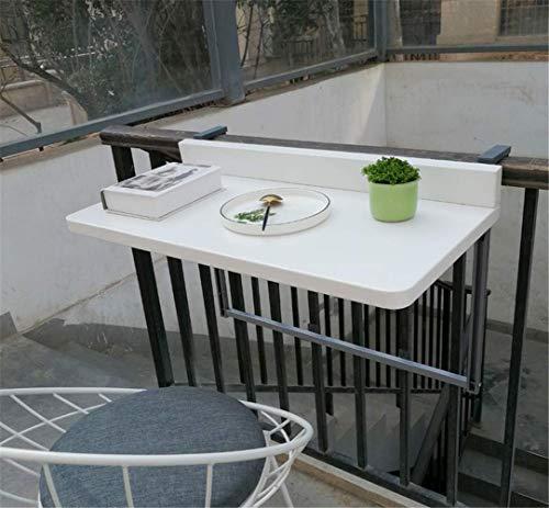 ZJHCC Mesa de Comedor Plegable Plegable para jardín, Muebles de Patio, Mesa Ajustable de imitación de Madera para Colgar en el balcón, para áreas y Balcones, barandilla de Patio, Blanco, 97 * 40 c