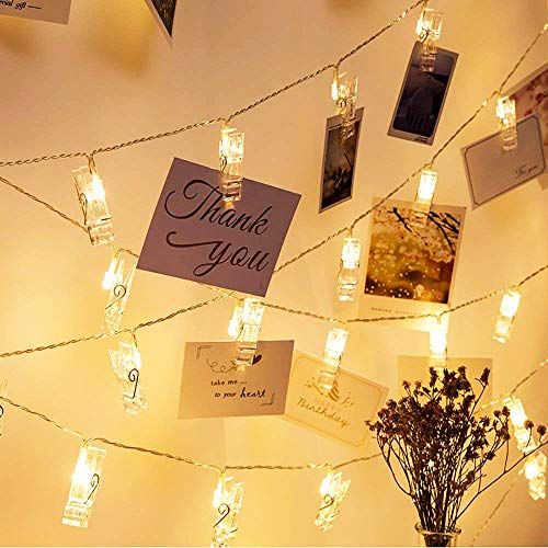 VENNKE 50 LED Photo Clips String Lights, Dimmable 9 Modes Remote & Timer Function Dual Powered Choice, Fairy Wedding Party Christmas Decor Lights for Hanging Photos Pictures Cards Artworks(N01)