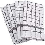 DII Cotton Terry Windowpane Dish Towels, 16 x 26' Set of 4, Machine Washable and Ultra Absorbent Kitchen Bar Towels-Gray