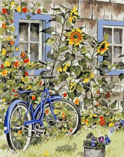 wcylj Pintura por Números Kits Bicicleta De Jardín DIY Pintura por Números con Pinceles Y Pinturas para Adultos Niños Decoraciones Regalos para El Hogar-40X50Cm(Sin Marco)
