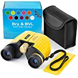 Best Gifts for 3-12 Years Boys Girls 8x21 High-Resolution Real Optics Mini Compact Binocular Toys Shockproof Waterproof Folding Small Telescope for Bird Watching,Travel,Camping (Yellow)